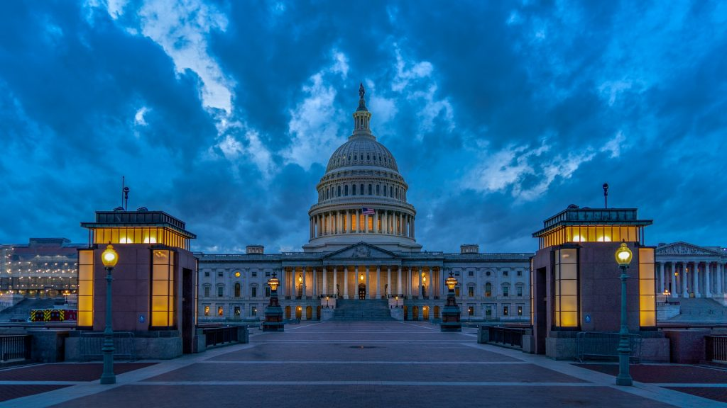Washington DC, das Capitol, wo der Kongress tagt um die Wahlmännerstimmen zu zählen und das Resultat zu verkünden.